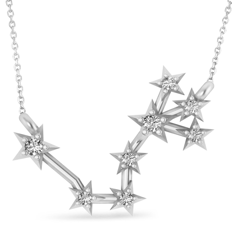 Diamond Scorpio Zodiac Constellation Star Necklace 14k White Gold (0.10ct)