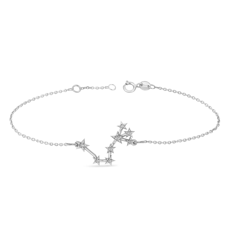 Diamond Scorpio Zodiac Constellation Star Bracelet 14k White Gold (0.10ct)