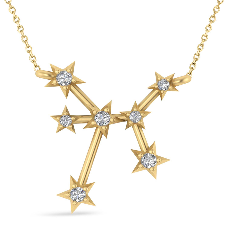 Diamond Sagittarius Zodiac Constellation Star Necklace 14k Yellow Gold (0.11ct)