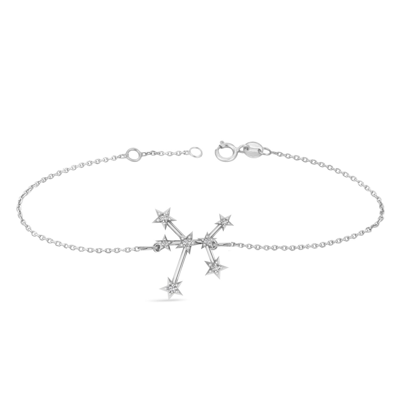 Diamond Sagittarius Zodiac Constellation Star Bracelet 14k White Gold (0.11ct)