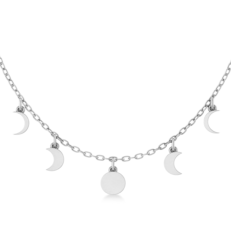 Multi-Moon Phase Pendant Necklace 14k White Gold