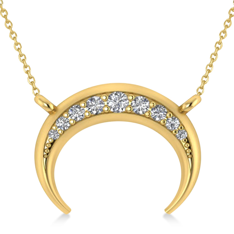 Diamond Crescent Moon Horn Pendant 14k Yellow Gold (0.17ct)