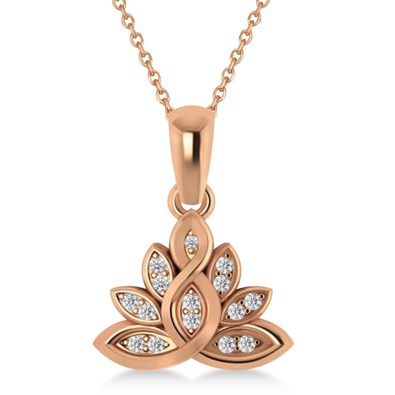 Diamond Lotus Flower Pendant Necklace 14k Rose Gold (0.15ct)