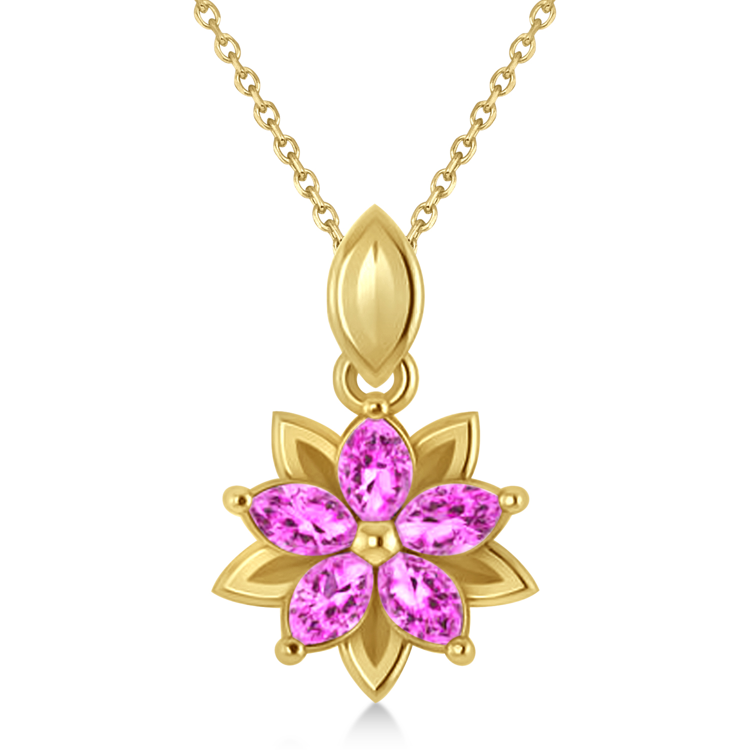 Pink Sapphire Double Layered 5-Petal Necklace 14k Yellow Gold (1.20ct)