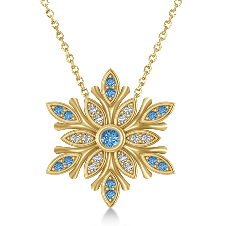 Diamond & Diamond Snowflake Necklace 14k Yellow Gold (0.29ct)