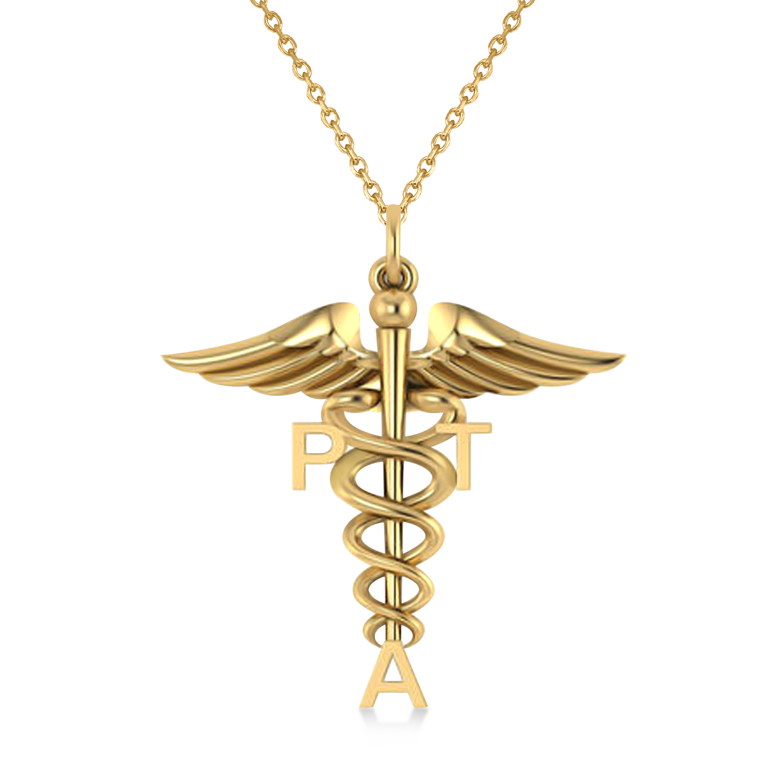 Medical PTA Symbol Pendant Necklace 14k Yellow Gold