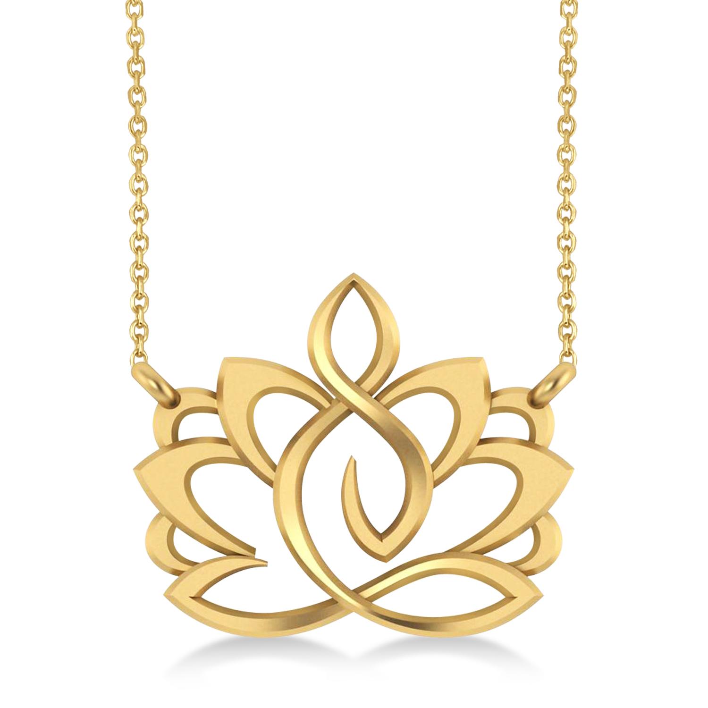 Yoga Lotus Flower Pendant Necklace 14k Yellow Gold