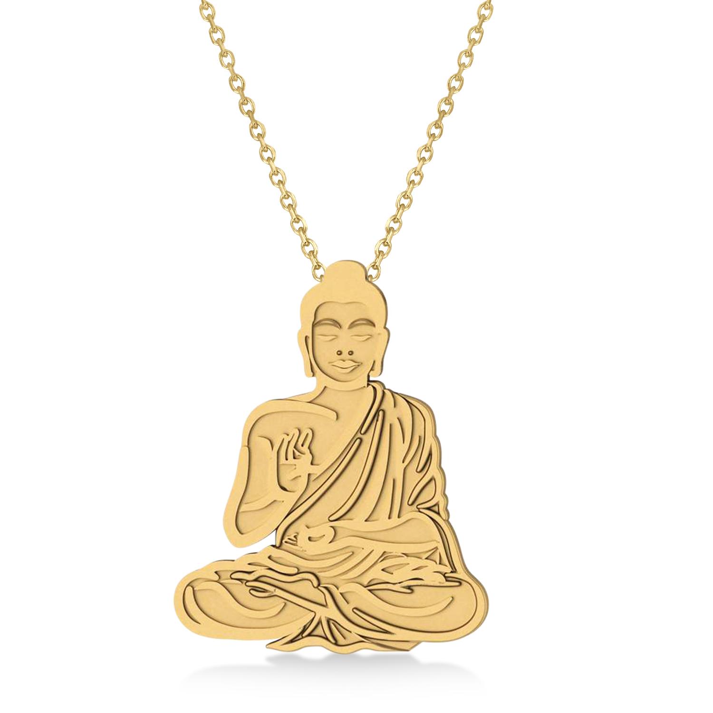 Buddha Spirituality Pendant Necklace 14k Yellow Gold
