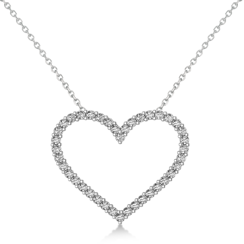 Diamond Open Heart Pendant Necklace 14k White Gold (0.60ct)