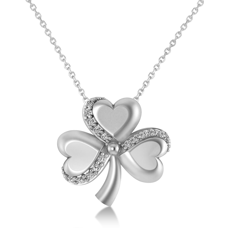Diamond Three Leafed Clover Pendant Necklace 14k White Gold (0.15ct)
