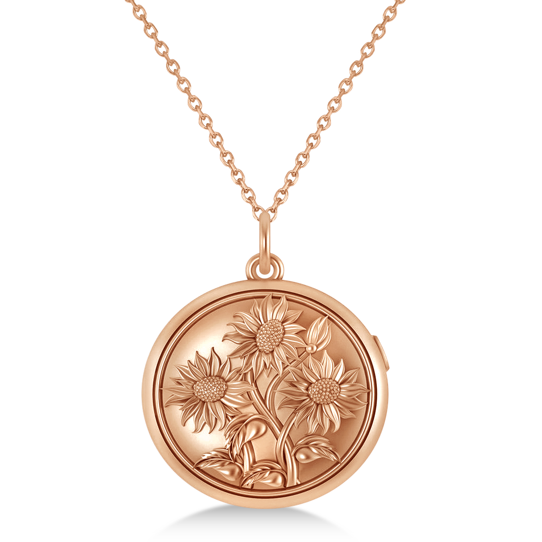 Sunflower Locket Pendant Necklace 14k Rose Gold