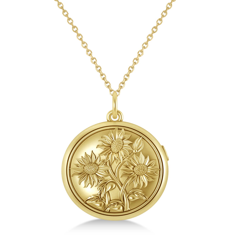 Sunflower Locket Pendant Necklace 14k Yellow Gold