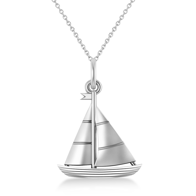Sailboat Pendant Necklace 14k White Gold
