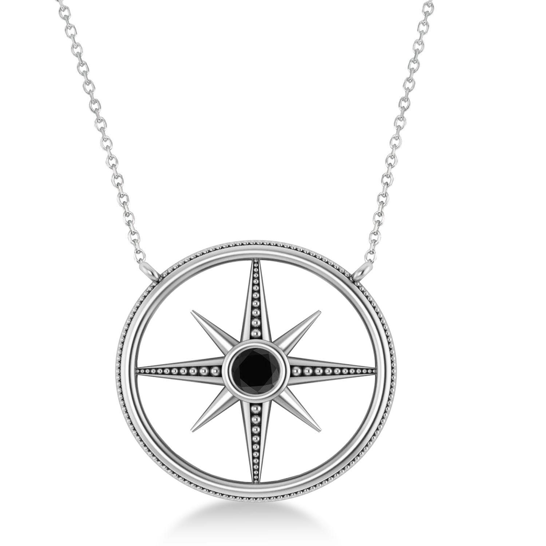 Black Diamond Compass Men's Pendant Necklace 14k White Gold (0.25ct)