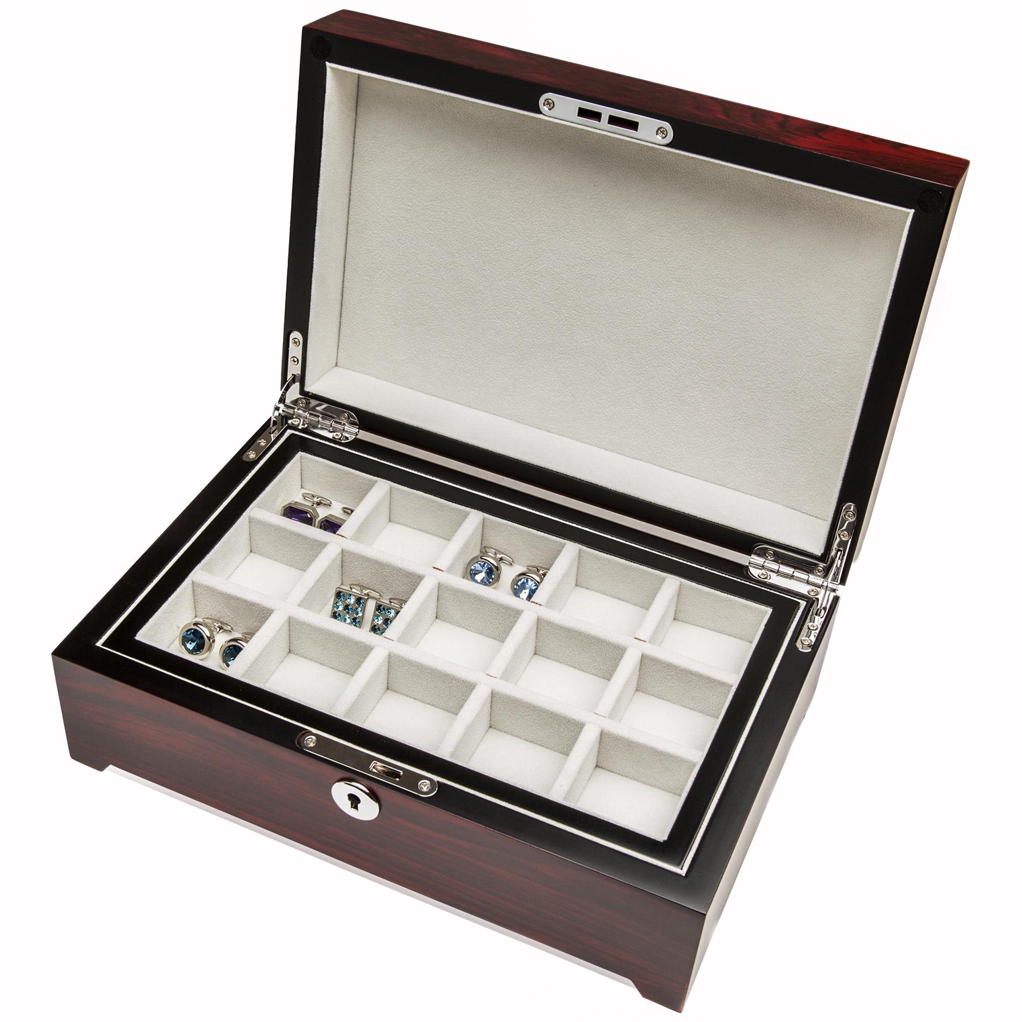 Thirty Pair Cufflinks Storage Box Mohagany Finish