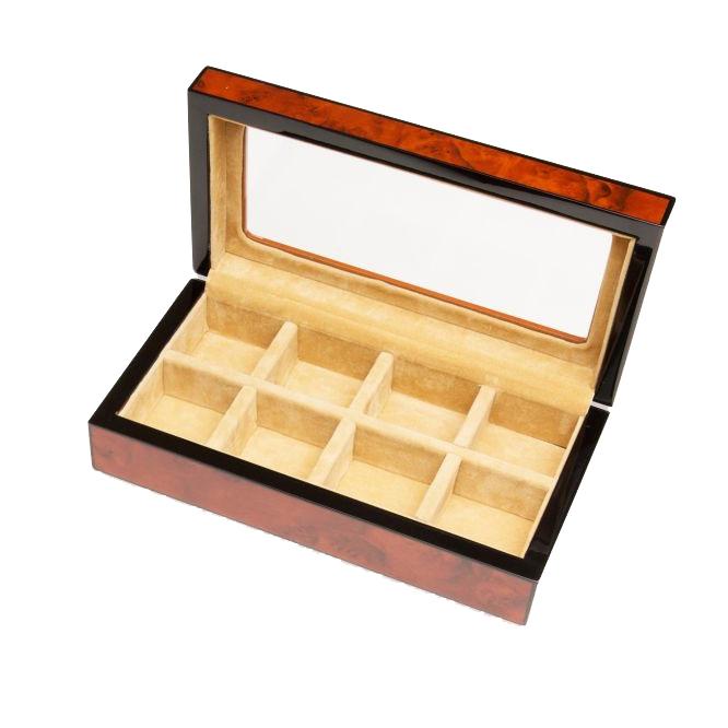 Eight Cufflinks Storage Box Burlwood Finish