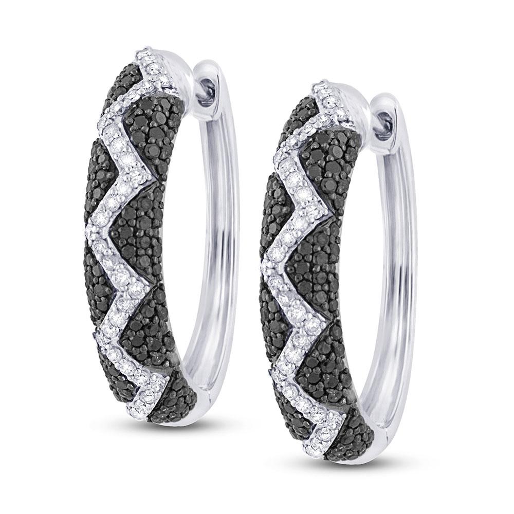 1.00ct 14k White Gold Black & White Diamond Hoop Earrings