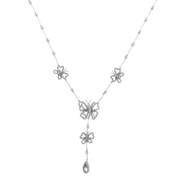 1.60ct 18k White Gold Diamond Butterfly Necklace
