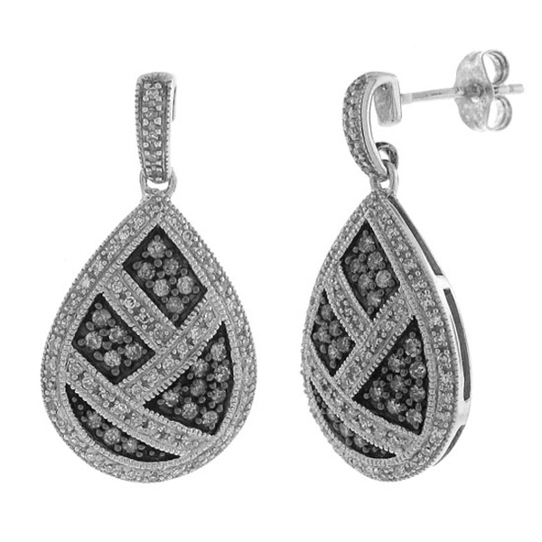 0.75ct Silver Diamond Dangle Earrings