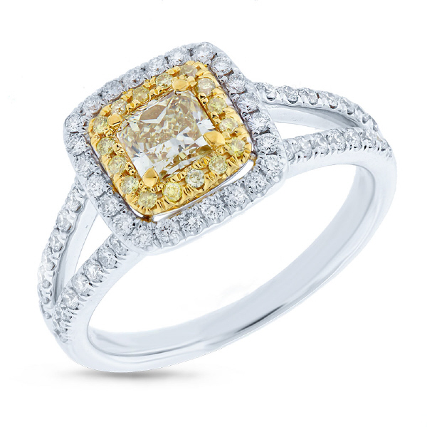 0.51ct Radiant Cut Center and 0.69ct Side 14k Two-tone Gold Natural Yellow Diamond Ring
