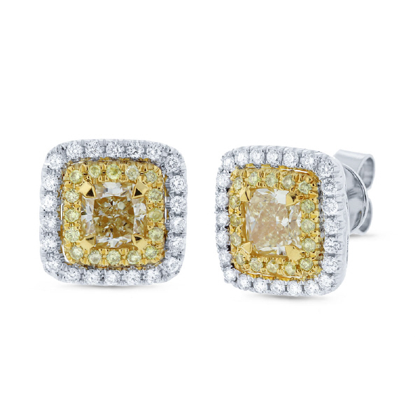 1.05ct Cushion Cut Center And 0.48ct Side 14k Two-tone Gold Natural Yellow Diamond Earrings