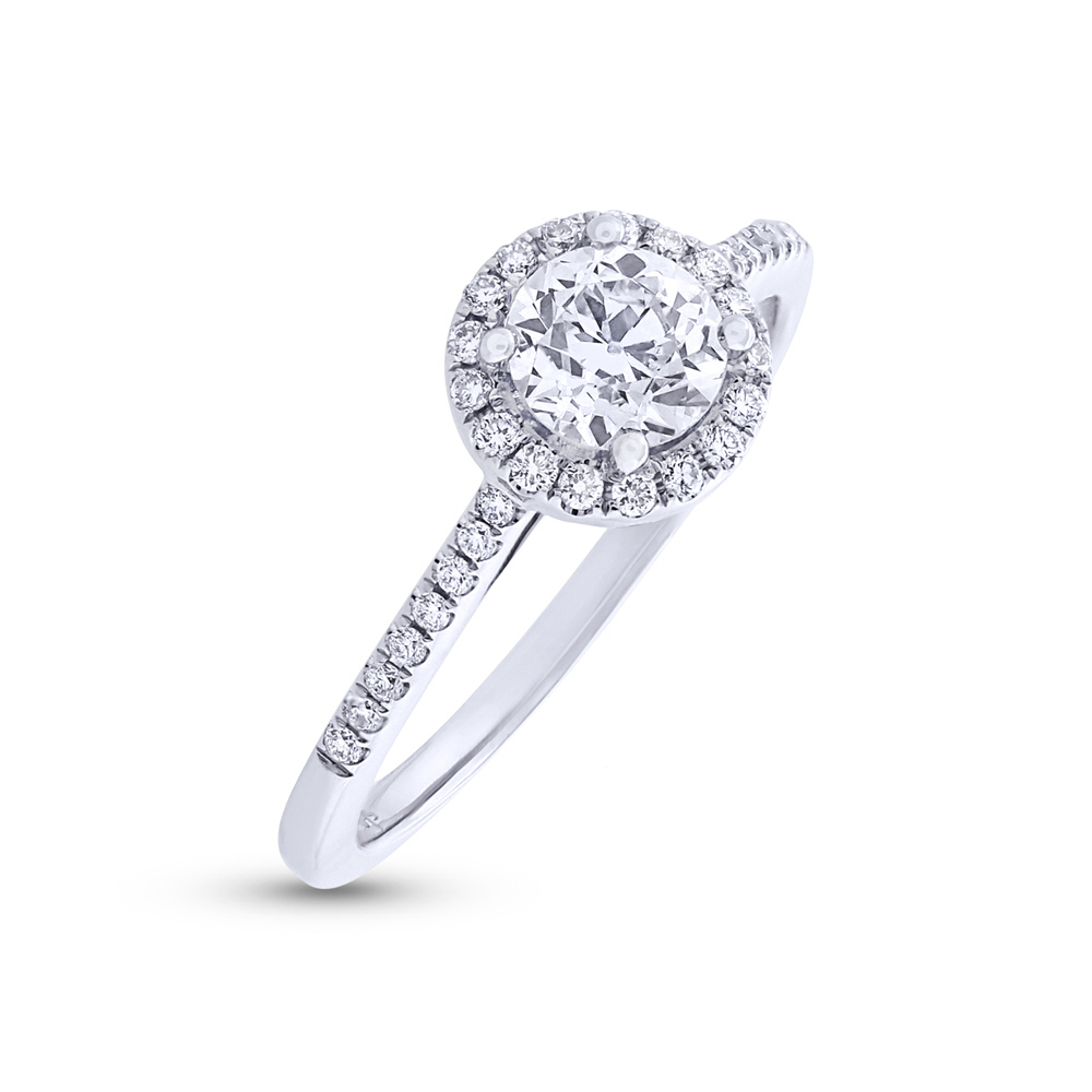 0.65ct Round Brilliant Center and 0.20ct Side 18k White Gold GIA Certified Diamond Engagement Ring