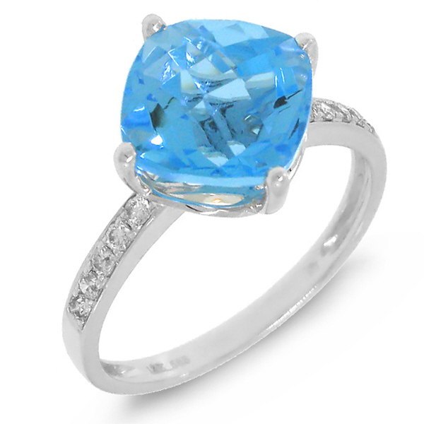 0.14ct Diamond & 3.80ct Blue Topaz 14k White Gold Ring