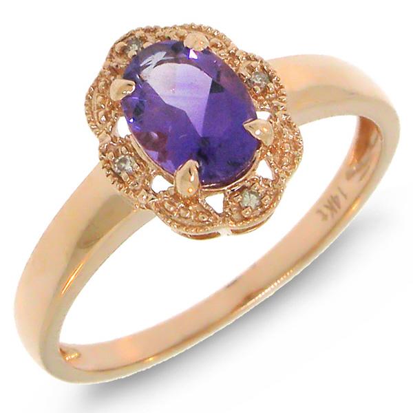 0.75ct Diamond & Amethyst 14k Rose Gold Ring