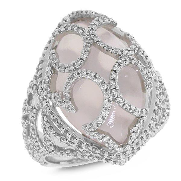 1.20ct Diamond & 11.10ct Rose Quartz 18k White Gold Ring