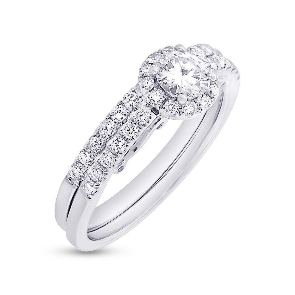 0.38ct Round Brilliant Center and 0.56ct Side 14k White Gold GIA Certified Diamond Wedding Set