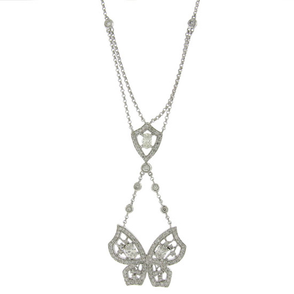 1.34ct 18k White Gold Diamond Butterfly Necklace