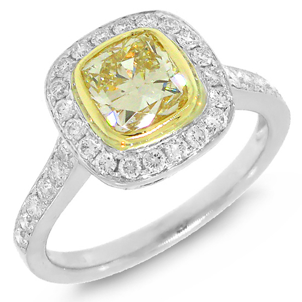 1.29ct Cushion Cut Center and 0.50ct Side 14k Two-tone Gold Natural Yellow Diamond Ring