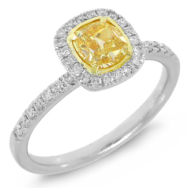 1.27ct 14k Two-tone Gold EGL Certified Cushion Cut Natural Fancy Yellow Diamond Ring