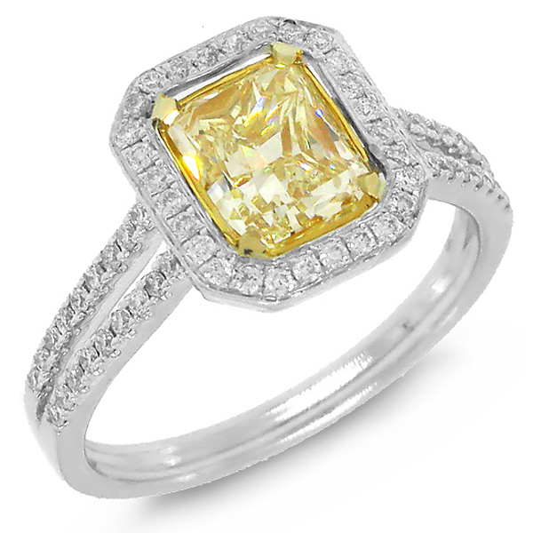1.47ct Radiant Cut Center and 0.36ct Side 14k Two-tone Gold EGL Certified Natural Yellow Diamond Ring