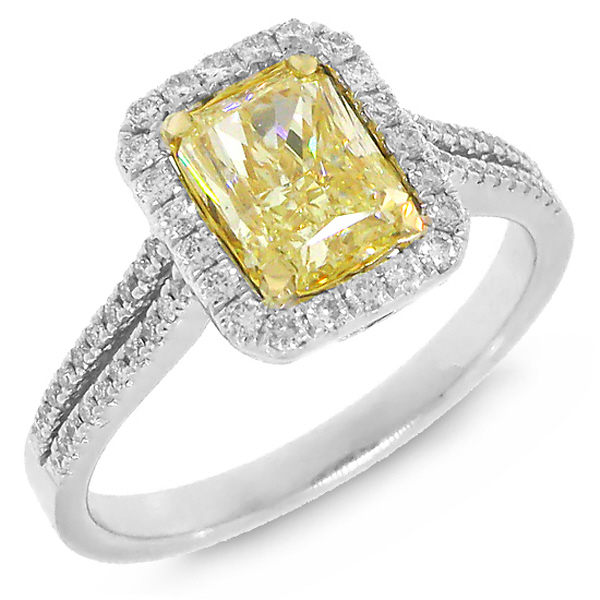 1.74ct 14k Two-tone Gold EGL Certified Radiant Cut Natural Fancy Yellow Diamond Ring