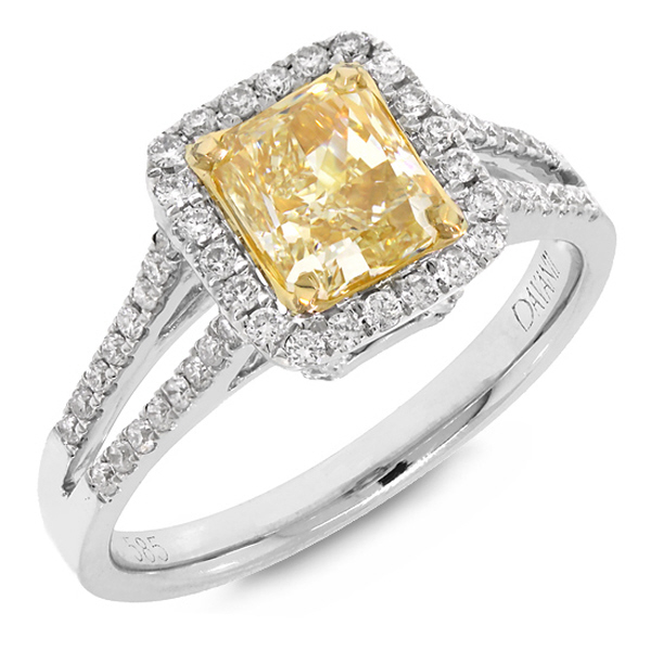 1.50ct Radiant Cut Center and 0.46ct Side 14k Two-tone Gold EGL Certified Natural Yellow Diamond Ring