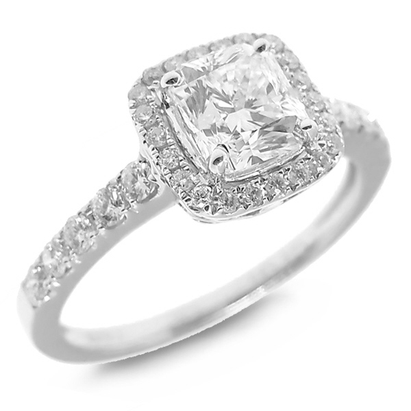 1.39ct 14k White Gold GIA Certified Radiant Cut Diamond Engagement Ring