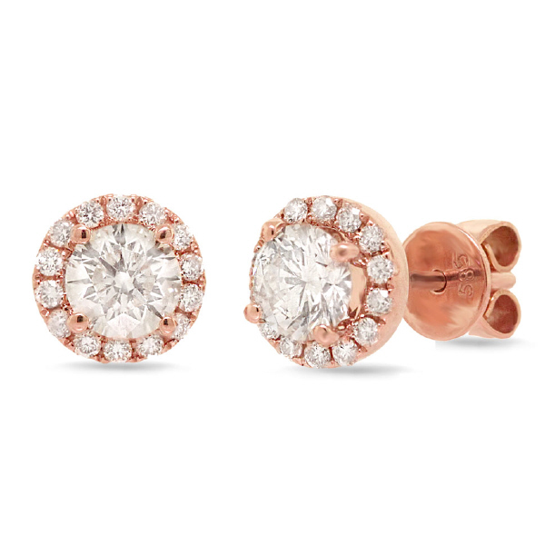 0.78ct Round Brilliant Center And 0.21ct Side 14k Rose Gold Diamond Stud Earrings