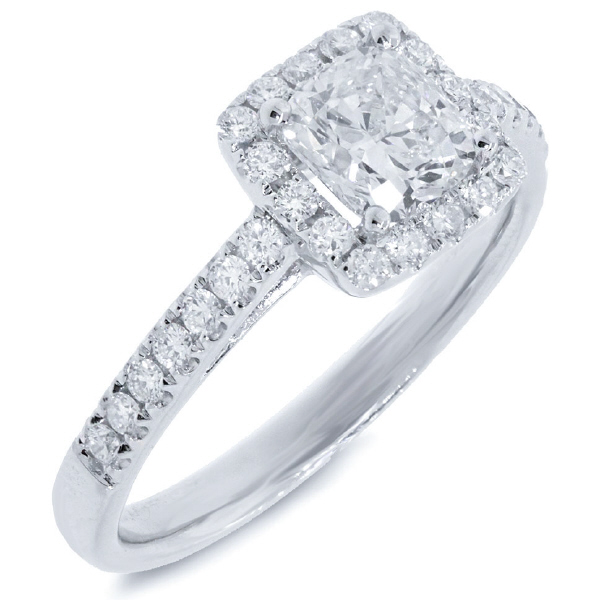 1.27ct 14k White Gold GIA Certified Cushion Cut Diamond Engagement Ring