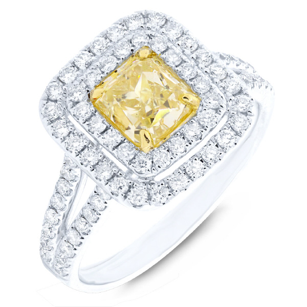 1.16ct Radiant Cut Center and 0.66ct Side 18k Two-tone Gold Natural Yellow Diamond Ring