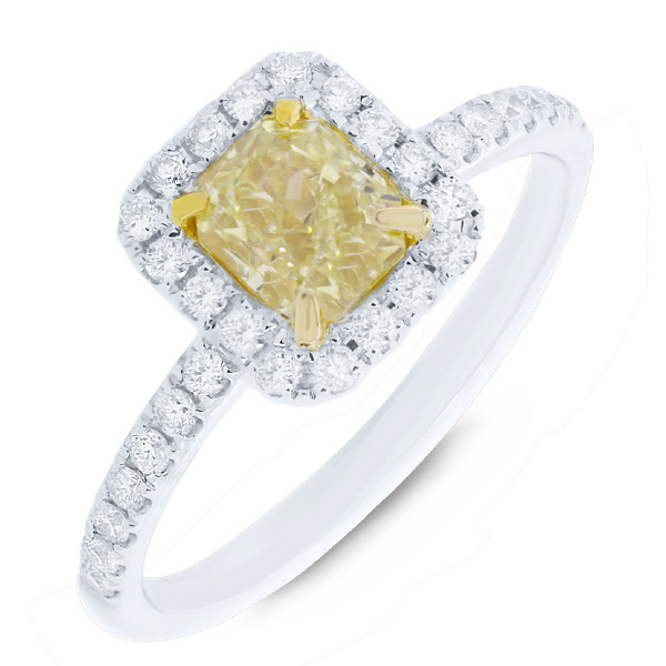 1.04ct Radiant Cut Center and 0.34ct Side 18k Two-tone Gold Natural Yellow Diamond Ring