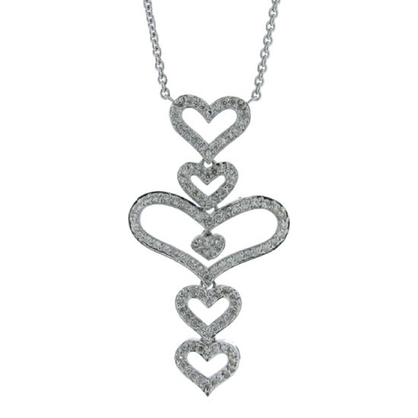0.75ct 14k White Gold Diamond Heart Necklace