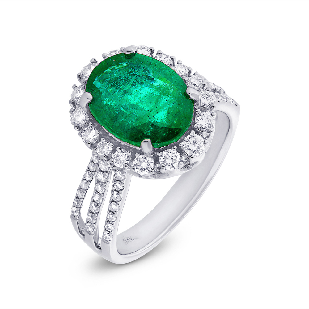 0.73ct Diamond & 3.27ct Emerald 14k White Gold GIA Certified Ring