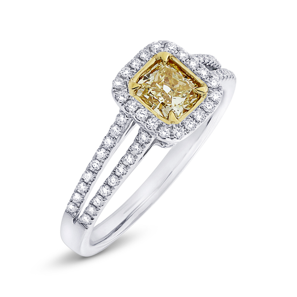 0.61ct Cushion Cut Center and 0.33ct Side 18k Two-tone Gold Natural Yellow Diamond Ring