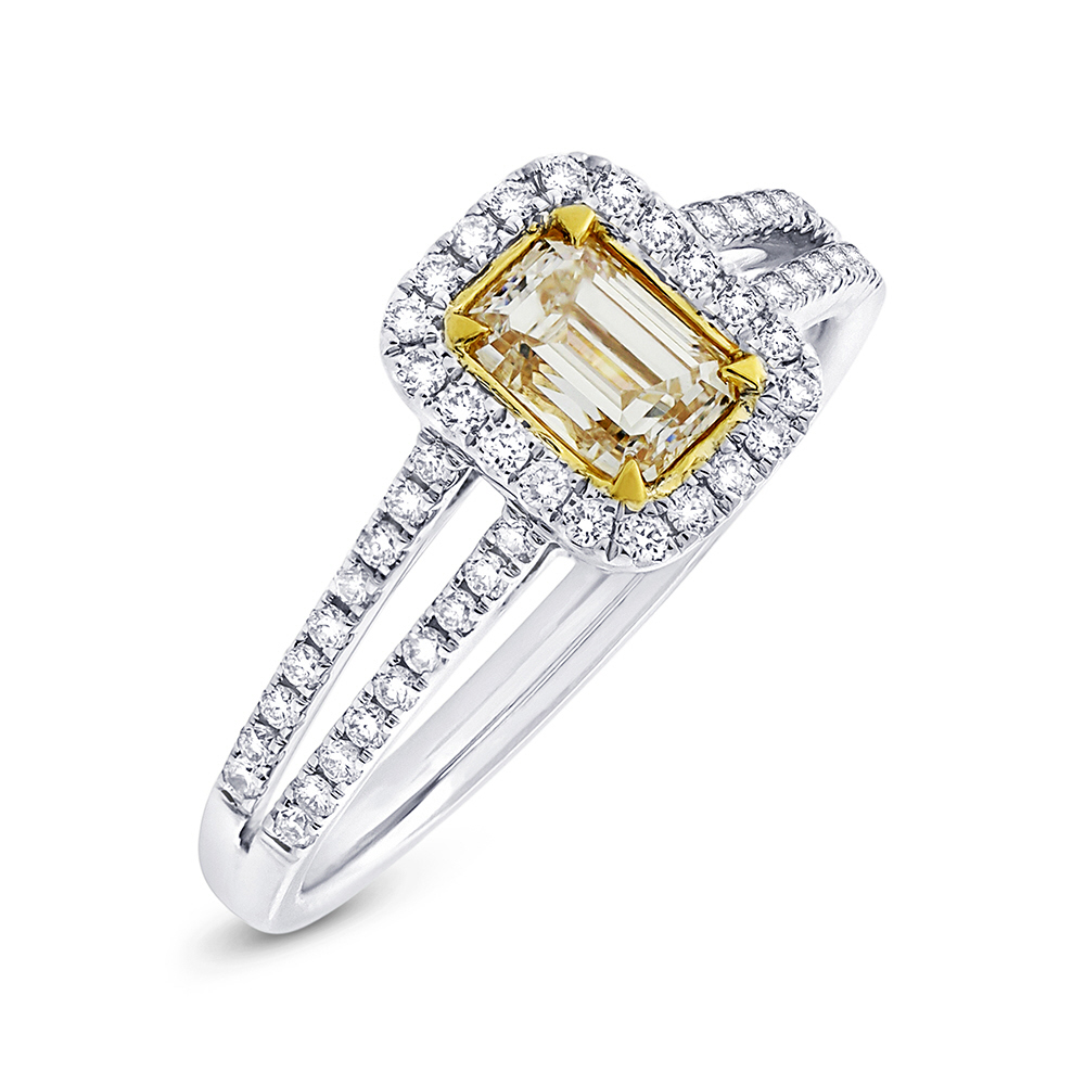 0.60ct Emerald Cut Center and 0.33ct Side 18k Two-tone Gold Natural Yellow Diamond Ring