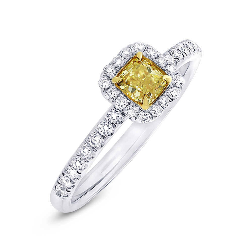 0.43ct Cushion Cut Center and 0.28ct Side 18k Two-tone Gold Natural Yellow Diamond Ring