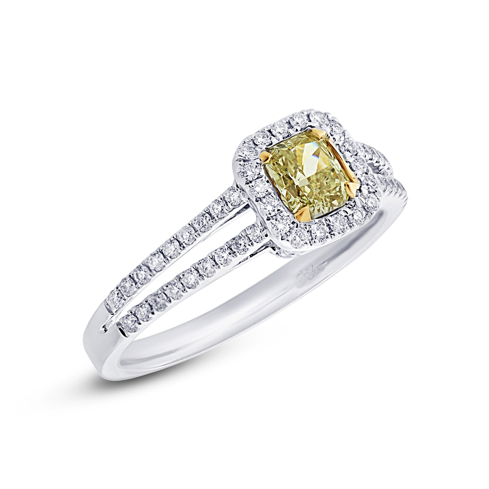 0.47ct Radiant Cut Center and 0.31ct Side 18k Two-tone Gold Natural Yellow Diamond Ring
