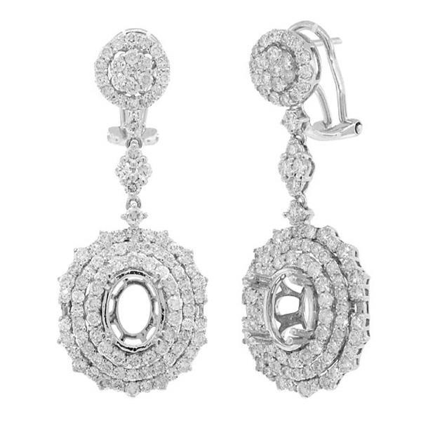 3.14ct 18k White Gold Diamond Semi-mount Earrings