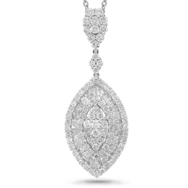 2.96ct 18k White Gold Diamond Pendant Necklace