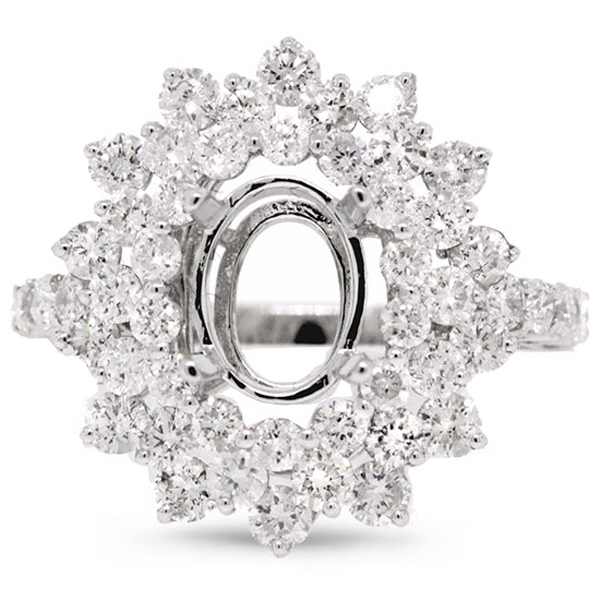 2.08ct 18k White Gold Diamond Semi-mount Ring